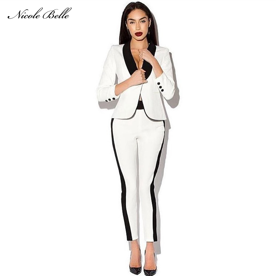2017 Women Runway Pantsuits Fashion White Black Double Breasted Celebrity Two Piece -2134