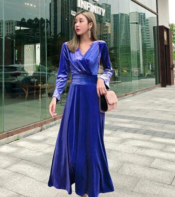Trendy Products Luxury Party evening Gold velvet dress Fashion Long sleeve V-Neck Vintage dress Elegant zo051