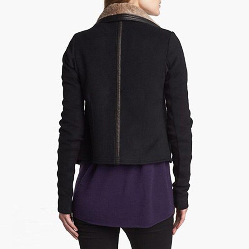Laine Solide Mélanges Manteaux Veste Hiver Chaude Patchwork Pu Angleterre De Noir Costumes Fourrure Col Style Manteau Femmes dIqIgXZw