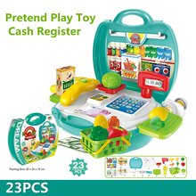 23Pcs Multi functional Educational Role Play Pretend Play Toy Cash Register With Shopping Basket Scanner Scale