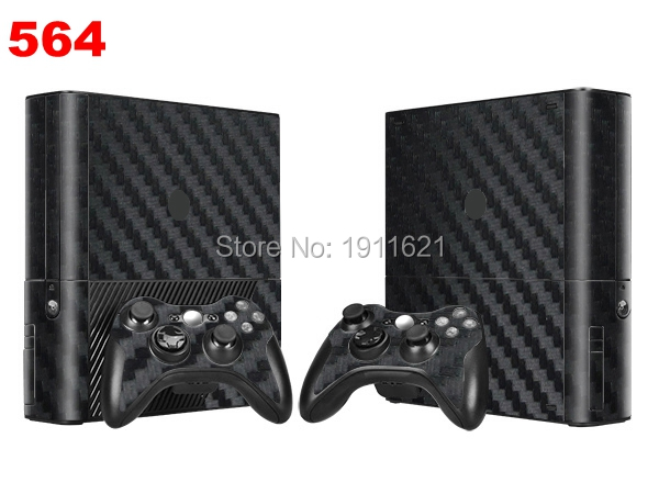 OSTSTICKER Black Cover Decal For Xbox 360 Skin Sticker For Xbox 360 E Console & 2 Controller Skins