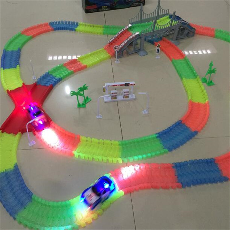 Tracks car Set Glowing Race Track Bend Flex Flash in the Dark Assembly Car Toy 165/220/240/360pcs Glow Racing Christmas gifts