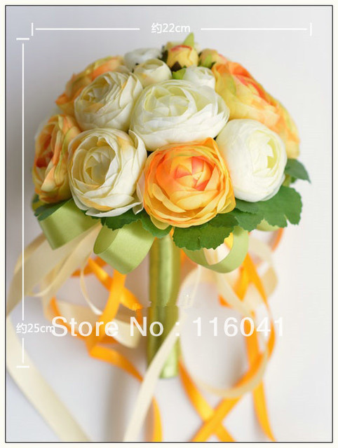 Orange Кот Tea Rose Свадебный Букет невесты Бросьте Цветок Украшения Ручной цветок Лента Ручки
