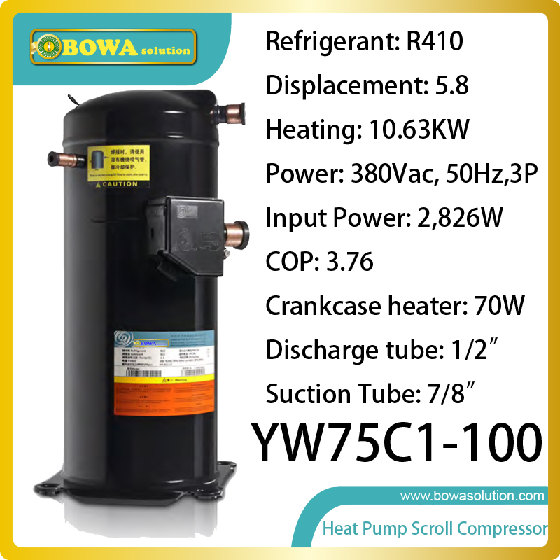 цены  10KW heating capacity R410a scroll compressor suitable heat pump water heater replace Copland ZW compressor