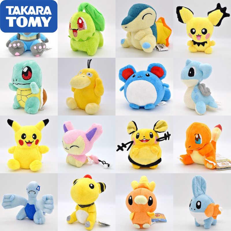 Takara Tomy Pokemon Pikachu Eevee peluş oyuncaklar Jigglypuff Charmander Gengar Bulbasaur hayvan peluş doldurulmuş oyuncaklar çocuklar için
