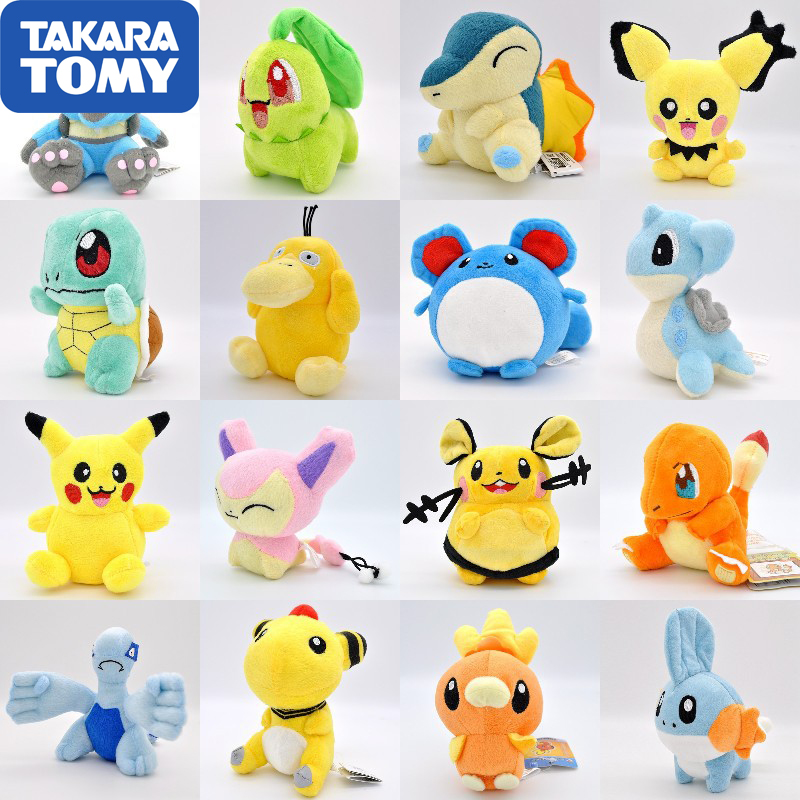 Takara Tomy Pokemon Pikachu Eevee plush toys Jigglypuff Charmander Gengar Bulbasaur Animal Plush Stuffed Toys For children