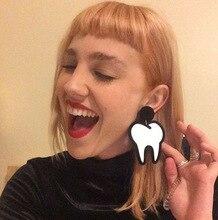 Европейский личность большой маленький акриловые белые зубы стад серьги женский клуб аксессуары и украшения