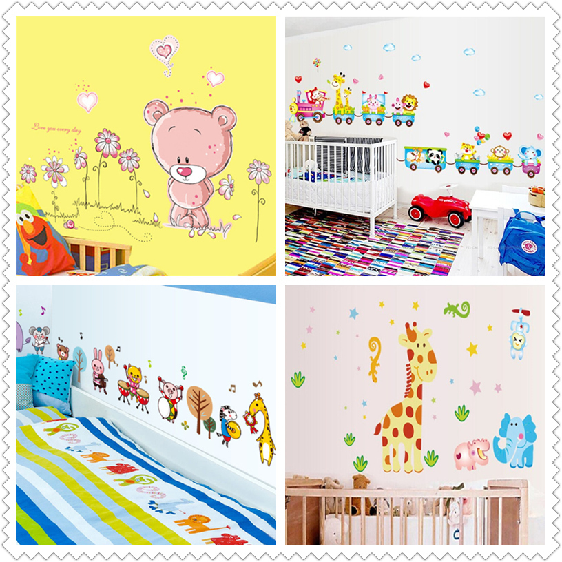 Zs Sticker Cute Nursery Wall Stickers Animals Wall Sticker Home Decor Nursery Decal for Kids Room Decal Baby Children