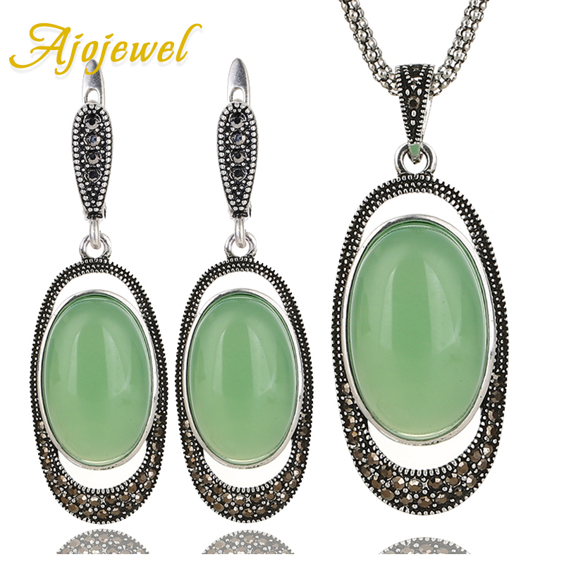 Ajojewel Delicate Green Opal Stone Retro Jewelry Sets Vintage Earrings Necklace Women Costume Jewelry Accessories