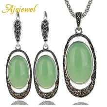 Ajojewel Delicate Green Opal Stone Retro Jewelry Sets Vintage Earrings Necklace Women Costume Accessories
