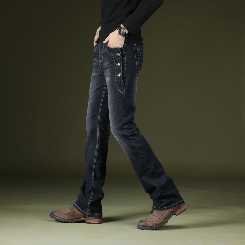 Calças de Brim Dos Homens dos homens Regular Fit Alargamento Do Vintage Preto Azul Casual Bota Cut Jeans Street Style Estiramento Magro Queimado Calça Jeans Bootcut calças