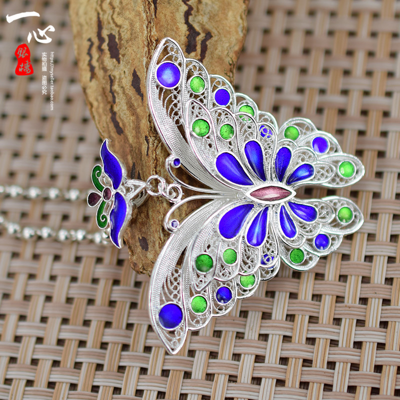 99 Zuyin are original ethnic handmade hollow Cloisonne butterfly Sterling Silver Pendant female bestie birthday gift недорго, оригинальная цена