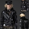 Nuevos hombres de la marca genuina piel de oveja de cuero ropa del diseño corto punky delgado da vuelta abajo remache cuero de la motocicleta chaqueta M-XL