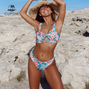 Image 4 - CUPSHE Doppio Nodo Stampa Floreale Bikini Set Sexy Delle Donne della Cinghia A Due Pezzi Spiaggia Costumi da bagno 2020 Della Ragazza Boho Costumi Da Bagno