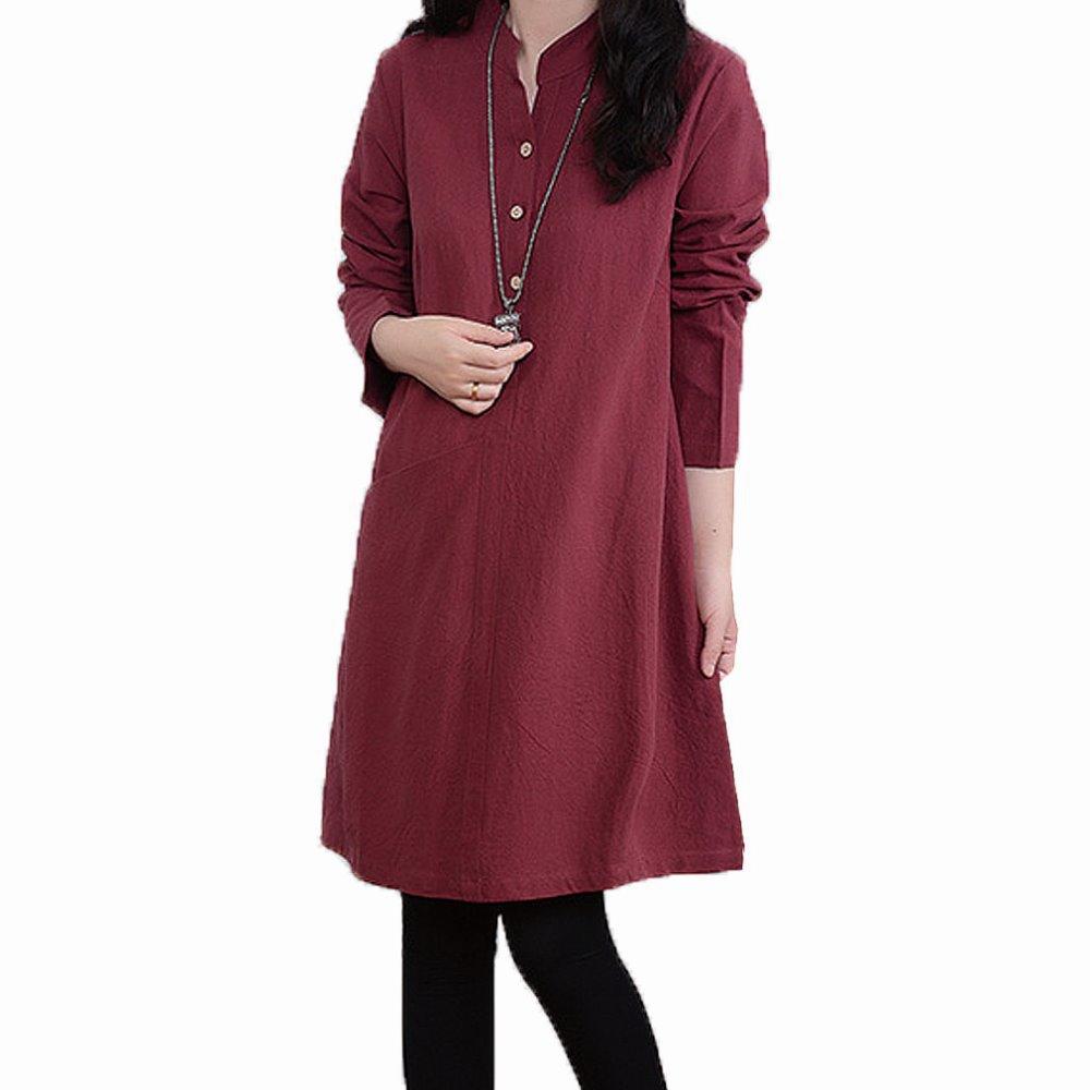 Solid Color Linen Cotton Maternity Dresses Autumn Winter Pregnancy Clothes for Pregnant Women Plus Size Casual Maternity Dress