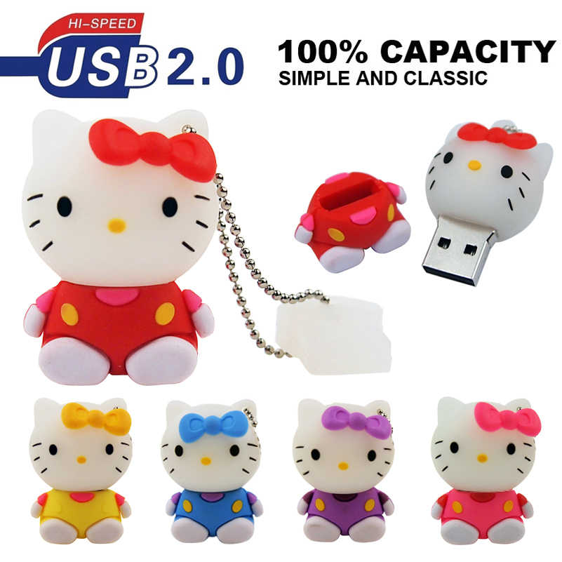 Olá kitty pendrive usb flash drive usb 2.0 gb de memória por atacado pen drive gb 32 64 disco usb flashdrive 128mb sentado vara foto