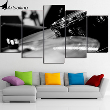 HD Printed 5 Piece Canvas Art Black White Drum Painting Music Instrument Wall Pictures for Living