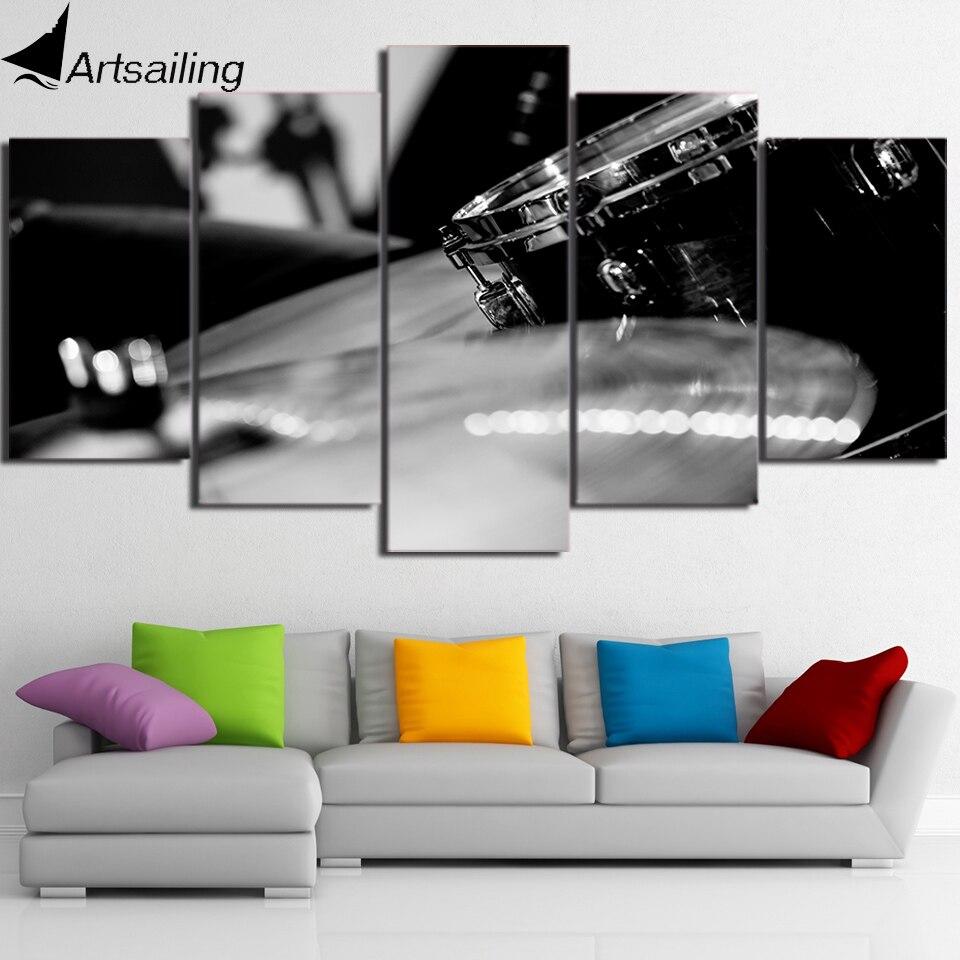 HD Printed 5 Piece Canvas Art Black White Drum Painting font b Music b font font