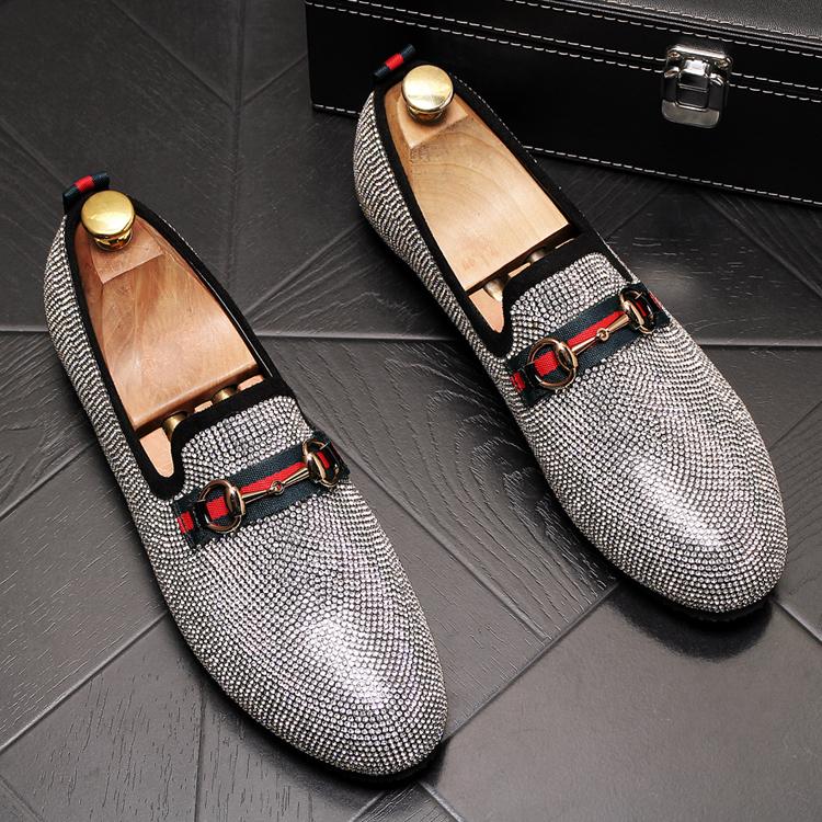 Mens Luxury Designer Fashion Leader Rhinestone Charm Platform Shoes Hip Hop Rock Prom Homecoming Zapatos Hombre Moccasins 46