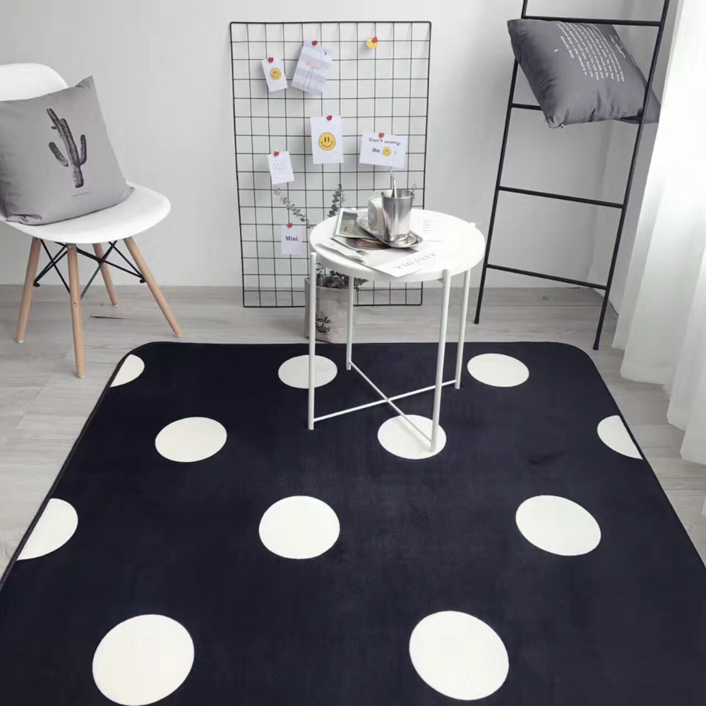 38 5 8 De Réduction Simplicité Mode Blanc Noir à Pois Salon Chambre  Décoratif Tapis Zone Tapis Plancher Yoga Bébé Ramper Tapis De Jeu Pad