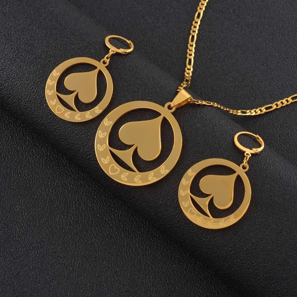Anniyo Marshall Liontin Kalung Anting-Anting Perhiasan Set untuk Wanita Warna Emas Rantai Mikronesia Perhiasan Hadiah #050821S