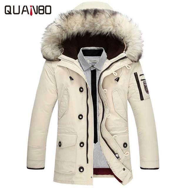 Новинка 2017 брендовая одежда Куртки толстые теплые мужчин пуховая куртка высокого качества меховой воротник с капюшоном пуховая куртка зимняя куртка мужской