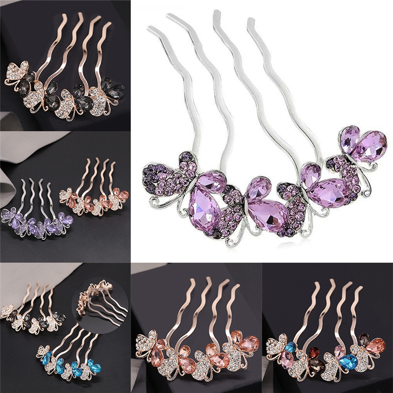 Pinksee Trendy New Crystal Colorful Butterfly Hair Accessories Wedding Party Hair Pins Clips for Women Rhinestone Hair Jewelry