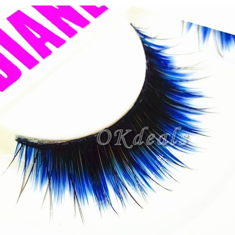 1 Pair Of HOT Fashion Long Black Blue False Eyelashes Beautiful Makeup Eye Lashes Make Up Beauty Tools