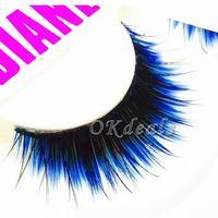 1 Pair of HOT Fashion Long Black Blue False Eyelashes Beautiful Makeup Eye Lashes Make Up Beauty Tools False Eyelashes