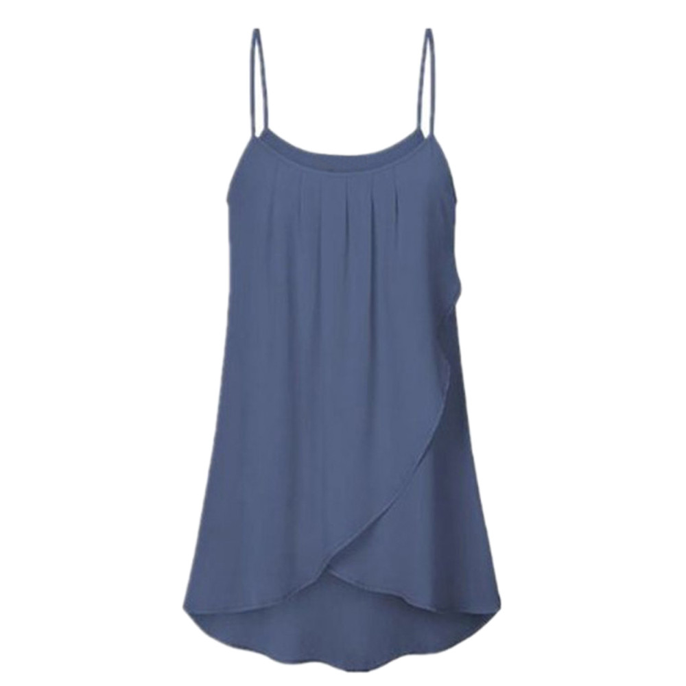 Large Size Solid Color Sling Cross Irregular Chiffon Top Vest Plus Size Casual Solid Sleeveless Chiffon Flowy Tank Camis