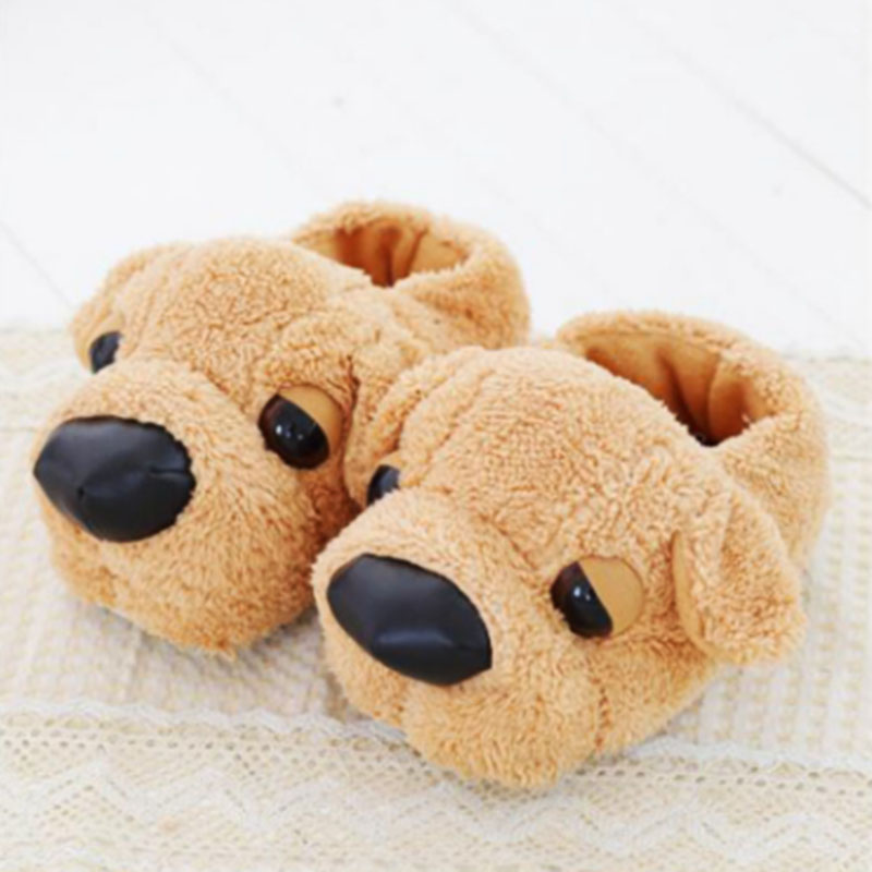 Winter Lovers Style Animal Plush Slippers Home Slides For Men Woman Shoes Dog Shape Soft Warm Fluffy Slipper Fit Best Gift Girls image
