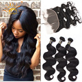 7A Malaysian Virgin Hair Lace Frontal Closure With Bundles Malaysian Body Wave 13x4 Preplucked Frontal With Human Hair Bundles