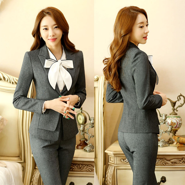 009c5d7fff44 Formal Elegant Pant Suits With Jackets And Pants for Business Women Work  Wear Ladies Office Uniforms