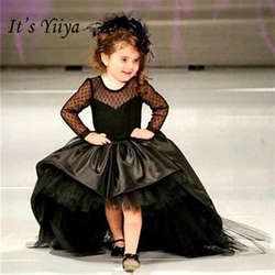 Это yiiya Мода черный с длинным рукавом для девочек в цветочек платья Платье в пол для девочек кружева принцесса платье TS276