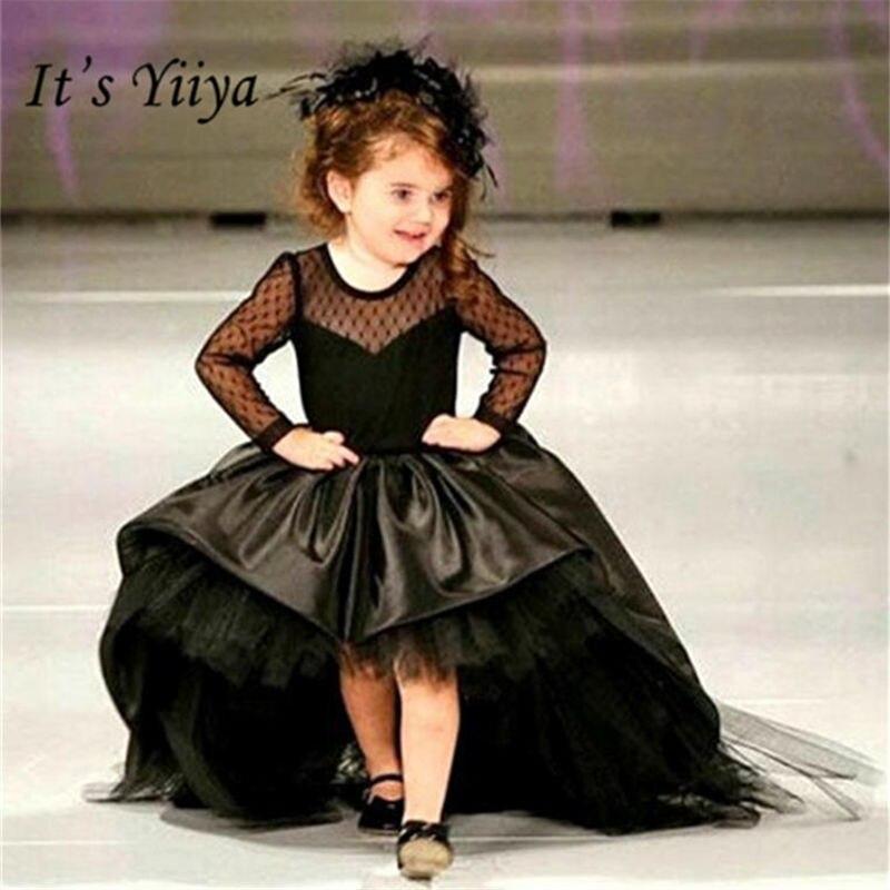It's yiiya Fashion Black Long Sleeve   Flower     Girl     Dresses   Floor-Length   Girls     Dress   Lace Princess Gown TS276