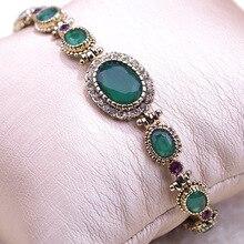 Blucome exquisito de la vendimia de cristal antiguo del oro oval de la joyería turca pulseiras brazaletes pulseras pulseira masculina los hombres de la joyería