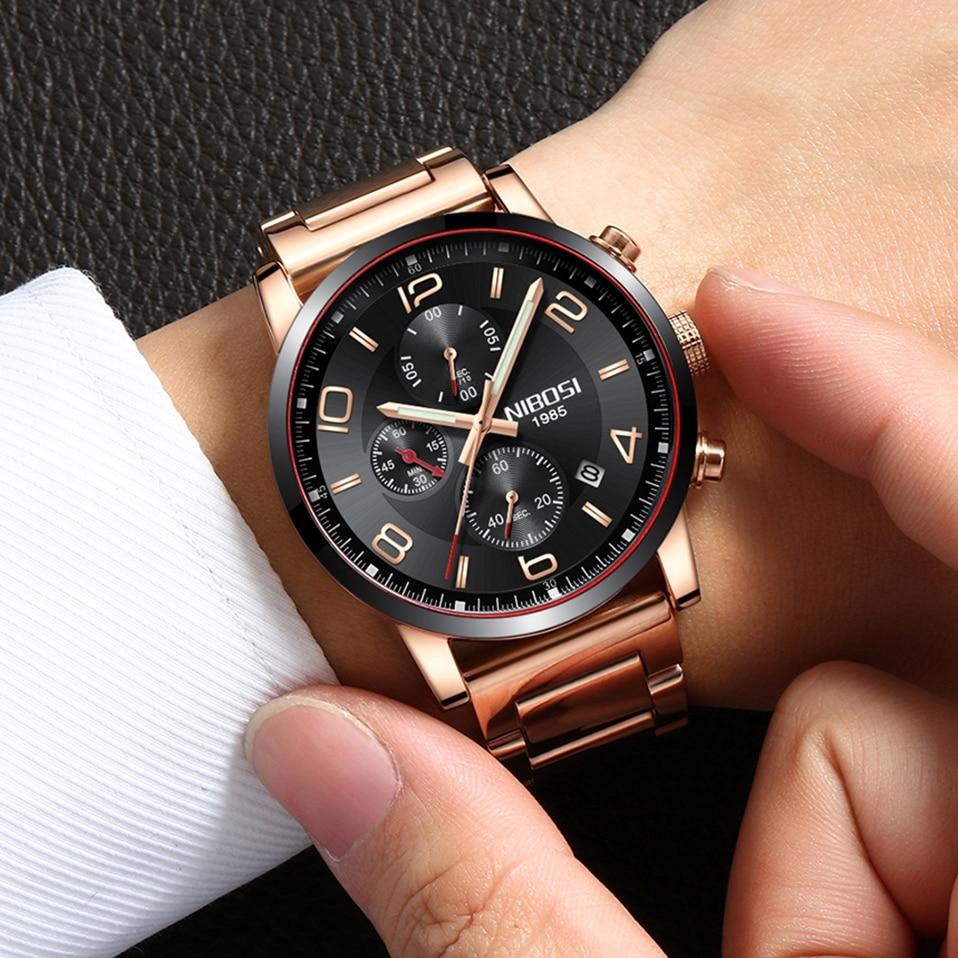 Detail Feedback Questions about NIBOSI Quartz Watches Men Top Brand Luxury  Steel Fashion Business Gold Watch Men s Quartz Clock Man Male Sports Watches  ... 3307f2d9a93