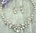 Aleación de La Perla joyería nupcial al por mayor aretes collar de la Boda Joyería de Traje de Fiesta