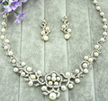 Alloy Pearl bridal jewelry Sets wholesale Wedding necklace earrings Suit Prom Jewelry