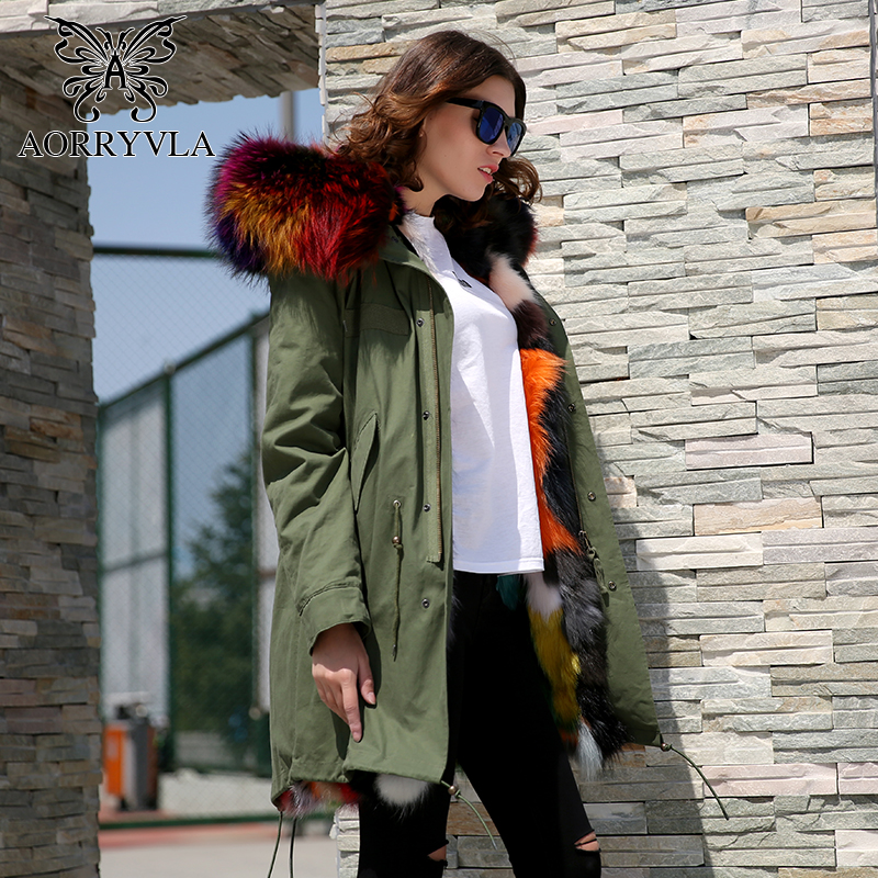AORRYVLA 2017 Winter Real Fur parka For Women Long Army Green Raccoon Fur Collar Hooded Coat Raccoon Fur Lining Winter Jacket 2017 winter new clothes to overcome the coat of women in the long reed rabbit hair fur fur coat fox raccoon fur collar