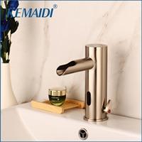 KEMAIDI Sensor Faucet Automatic Inflrared Sensor Hand Touch Tap Hot Cold Mixer Nickel Brushed Mixer Bathroom Tap Basin faucets