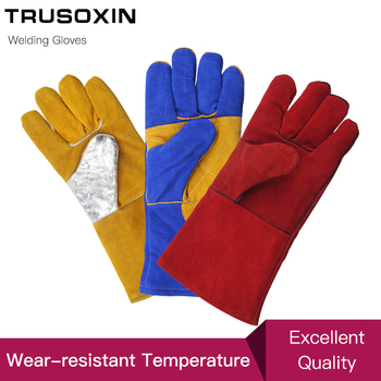Leather Welding Gloves Anti-Cut Temperature Resistant Fire-Proof Cowhide Work Safety Gloves Hands Protection kopilova 1pairs welding gloves cow suede lengthen fire proof sputtering protection gloves wear resisting for finger protection