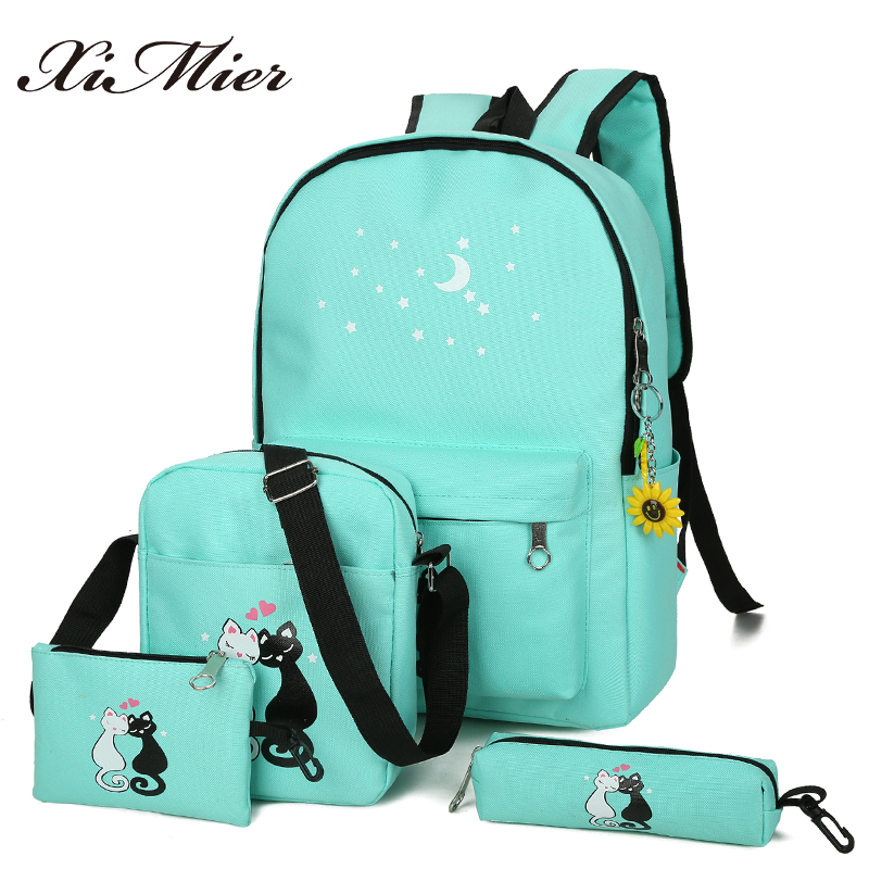 XIMIER 5Pcs/set Canvas Women Backpacks Schoolbag Printing Cute Cat School Bag Backpack For Teenager Girls Green Rucksack Moclila 2pcs set preppy style canvas backpack women letter printing backpacks school bags for teenager girls schoolbag female travel bag