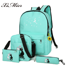 XIMIER 5Pcs/set Canvas Women Backpacks Schoolbag Printing Cute Cat School Bag Backpack For Teenager Girls Green Rucksack Moclila