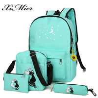 XIMIER 5pcs Set Canvas Women Backpacks Schoolbag Printing Cute Cat School Bag Backpack For Teenager Girls