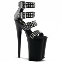 Temperamental Fashion High Heel Easy Buckle Belt Show Thin Shoe Sexy Lacquer Rivet Is Decorated High