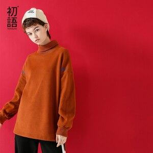 Image 1 - Toyouth Sudadera larga con capucha para mujer, suéter informal con letra de Color sólido bordado, suéter de cuello alto, sudaderas holgadas para mujer 2019