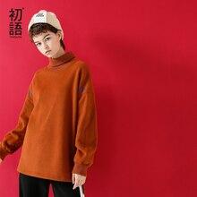 Женская Длинная толстовка Toyouth, повседневная однотонная толстовка с высоким воротником и надписью, Свободный пуловер на осень, 2019