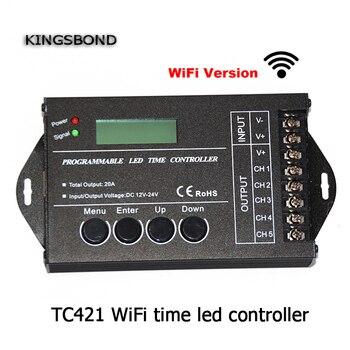 DC12 DC24V TC421 WiFi thời gian lập trình dẫn điều khiển mờ rgb aquarium chiếu sáng hẹn giờ đầu vào 5 kênh đầu cho led strip