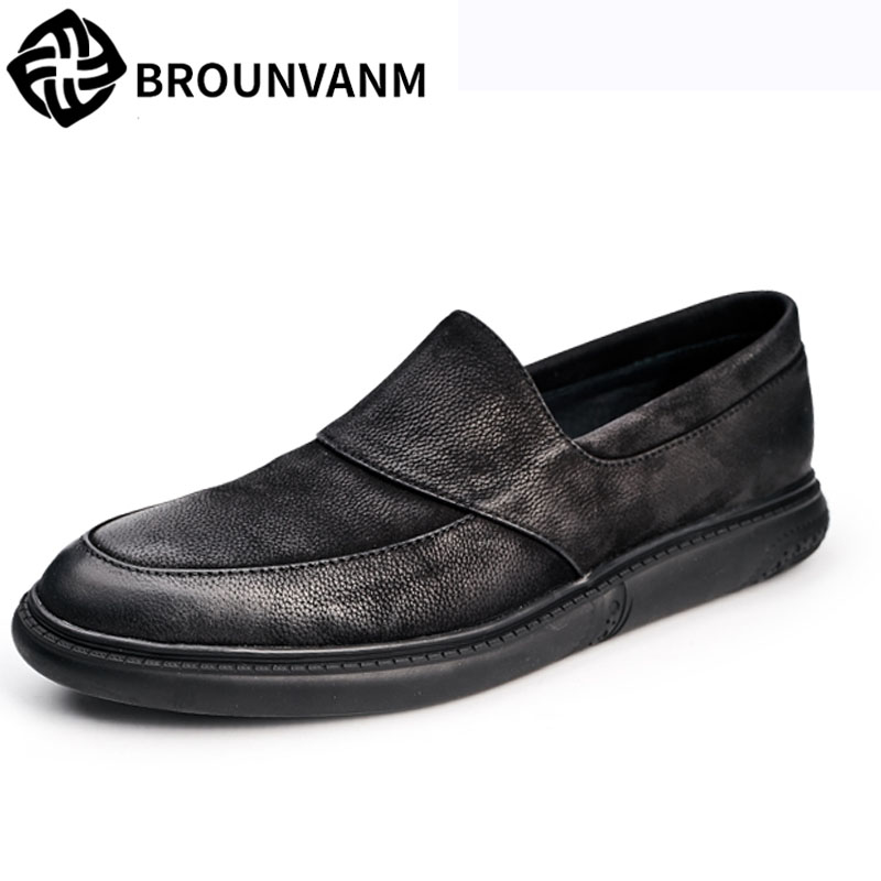 Male loafer Men's Leather shoes soft British tide casual shoes spring and autumn British retro shoes men all-match cowhide men leather shoes comfortable breathable shoes doug tide set foot casual shoes new autumn winter british retro